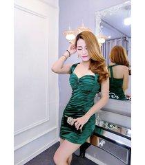 pf091 sweet neck halter wrinkle dress, free size, green
