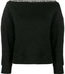 stella mccartney logo tape off-the-shoulder sweatshirt - black