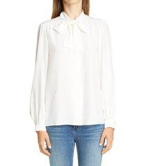 women's lafayette 148 new york cecile tie neck silk blouse, size x-small - grey