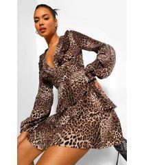 luipaardprint skater jurk met ruches, laag decolleté en laagjes, grey