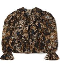 kalila ruffled printed cotton blouse