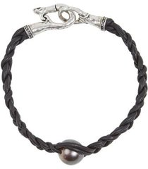 tahitian pearl woven leather bracelet