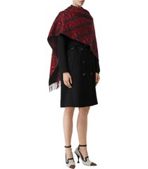 women's burberry monogram jacquard cashmere scarf, size one size - red