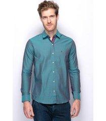 camisa social slim fit teodoro jacquard algodão masculina
