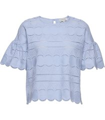 callie blouse blouses short-sleeved blauw by malina