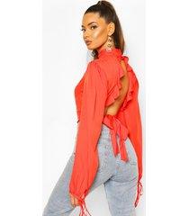 ruffle back high neck blouse, tomato