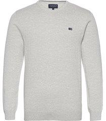 bradley organic cotton crew neck sweater gebreide trui met ronde kraag grijs lexington clothing