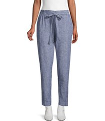 beach lunch lounge women's pinstripe linen & cotton pants - sunflower - size xs