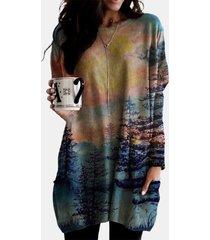 camicetta da donna a maniche lunghe con stampa paesaggio o-collo