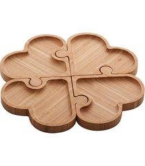 petisqueira bambu lyor com 4 divisórias heart quebra-cabeça 26x26x1,6cm