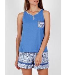 pyjama's / nachthemden admas pyjama korte tank top blauw griekenland