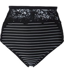 fleur du mal lace insert high bikini bottoms - black