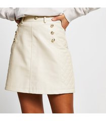 river island womens stone pu quilted mini skirt