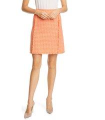 women's boss johellana fringetweed skirt, size 10 - orange