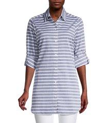tommy bahama women's breton stripe boyfriend shirt swim coverup - navy - size s