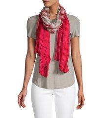 saachi women's plaid ombré scarf - red