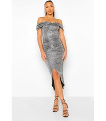 tall glimmende midaxi wikkel jurk met open schouder, silver