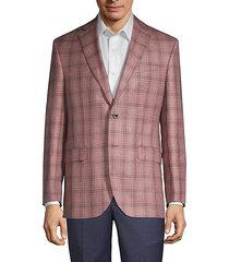 regular-fit plaid wool, silk & linen jacket