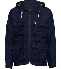over d denim parka jacket with hood jeansjack denimjack blauw scotch & soda