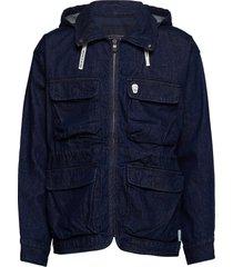 over d denim parka jacket with hood jeansjack denimjack blauw scotch & soda