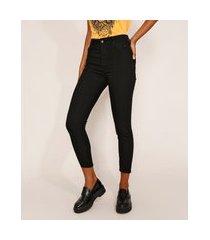 calça de sarja feminina cintura alta sawary skinny com recorte preta