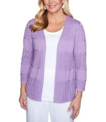 alfred dunner classics biadere pointelle open-front cardigan