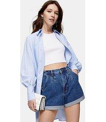 rich blue pleated roll hem mom denim shorts - mid stone