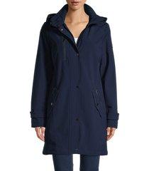 dkny women's faux fur-trim long jacket - black - size m