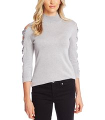 cece turtleneck cutout-sleeve cotton sweater