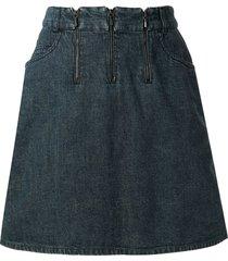 chanel pre-owned 2000 triple zipper denim skirt - blue