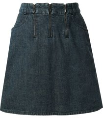 chanel pre-owned 2000 triple zipper denim skirt - blue