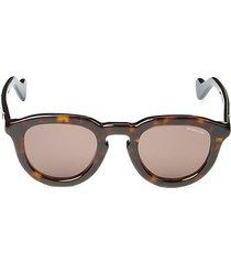 48mm faux tortoiseshell round sunglasses