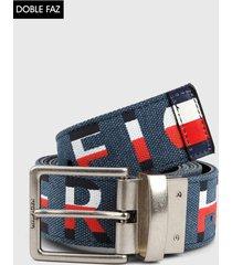 cinturón doble faz azul-rojo-negro tommy hilfiger