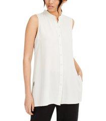 eileen fisher system silk mandarin-collar blouse