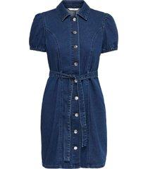 only vibbe ss belt denim dress dark blue