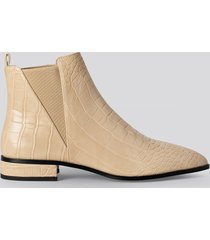 na-kd shoes low pointy chelsea boots - beige