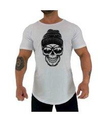 camiseta longline mxd caveira de gorro masculina