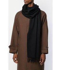 mackintosh black cashmere embroidered scarf acc-013/e