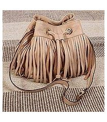 leather shoulder bag, 'bodacious in buff' (mexico)