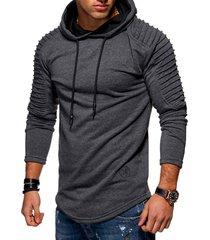 solid color pleated sleeve long fleece hoodie