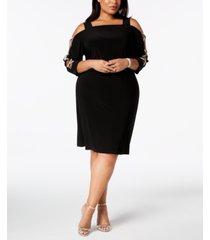msk plus-size 3/4-sleeve rhinestone-embellished dress