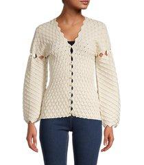 kenzo women's scalloped-edge diamond-knit cardigan - off white - size s