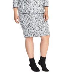 rachel rachel roy trendy plus size lindey snake-embossed sweater skirt
