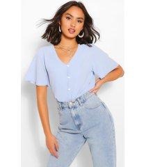 woven button through blouse, light blue