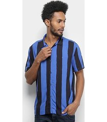 camisa manga curta ellus masculino hand stripes bold hawaii americana masculina