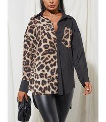 camicetta patchwork con colletto rovesciato manica lunga stampata leopardata