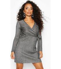 petite metallic plissé wrap dress, silver