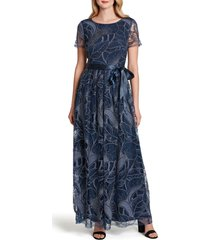 women's tahari embroidered sequin gown, size 2 - blue
