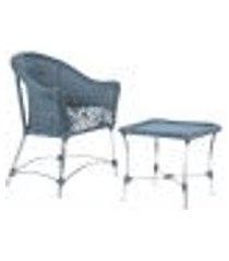 1 poltrona roma e 1 mesa de área varanda jardim edícula azul escuro estonado a06