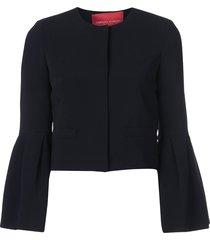 carolina herrera flared-sleeve fitted jacket - black